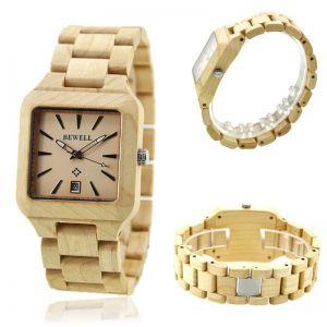 Dřevěné hodinky Bewell hranaté