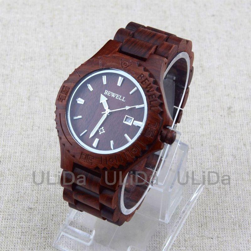 Dřevěné hodinky Bewell kulaté