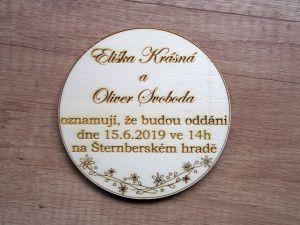 Dřevěné svatební oznámení kulaté 3 varianty
