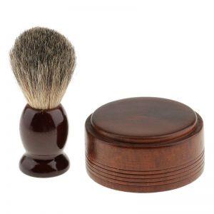 Pánská dřevěná holicí štětka + miska na mýdlo