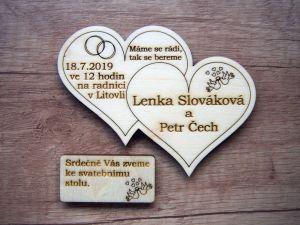 Svatební oznámení dvojité srdce