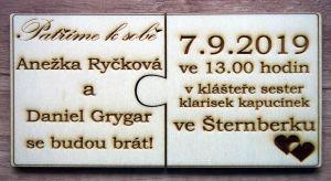 Svatební oznámení puzzle rozdělené