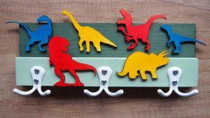 Věšák se třemi dvojháčky dinosauři