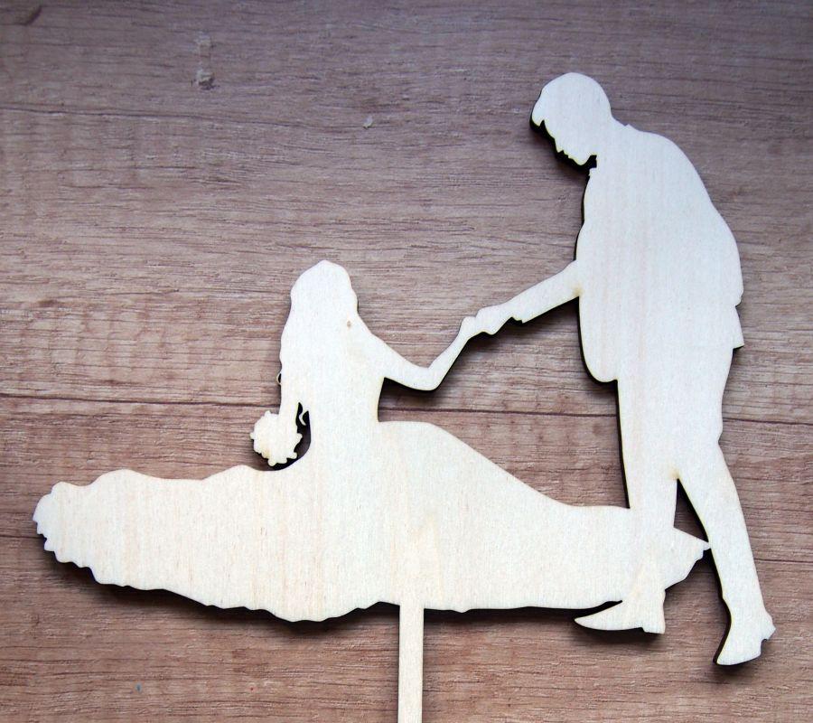 Zápich na dort svatební 2 silueta novomanželů
