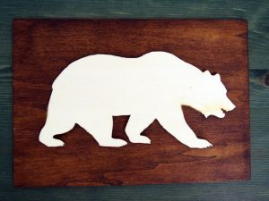 Dekorace, obraz medvěd, vlk, jelen