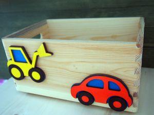 Dřevěná bedýnka auto a bagr