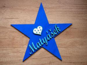 Dřevěná dekorace hvězda se jménem