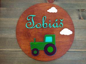 Dřevěná dekorace kruhová s traktorem