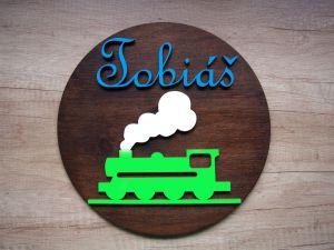 Dřevěná dekorace kruhová vlak se jménem