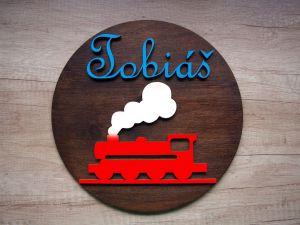 Dřevěná dekorace kruhová vlak