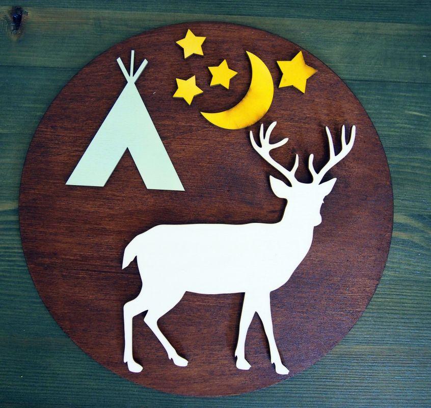 """Dřevěná dekorace kruhová """"wild teepee"""""""