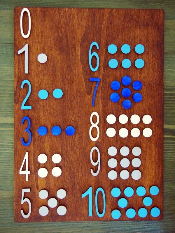 Dřevěná destička s čísly