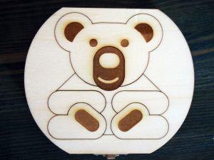 Dřevěná krabička na mléčné zoubky s českými popisky zvířátka