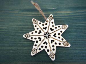 Dřevěná vánoční ozdoba vyřezávaná hvězda 2