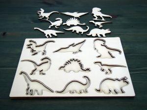 Dřevěná vkladačka dinosauři natur