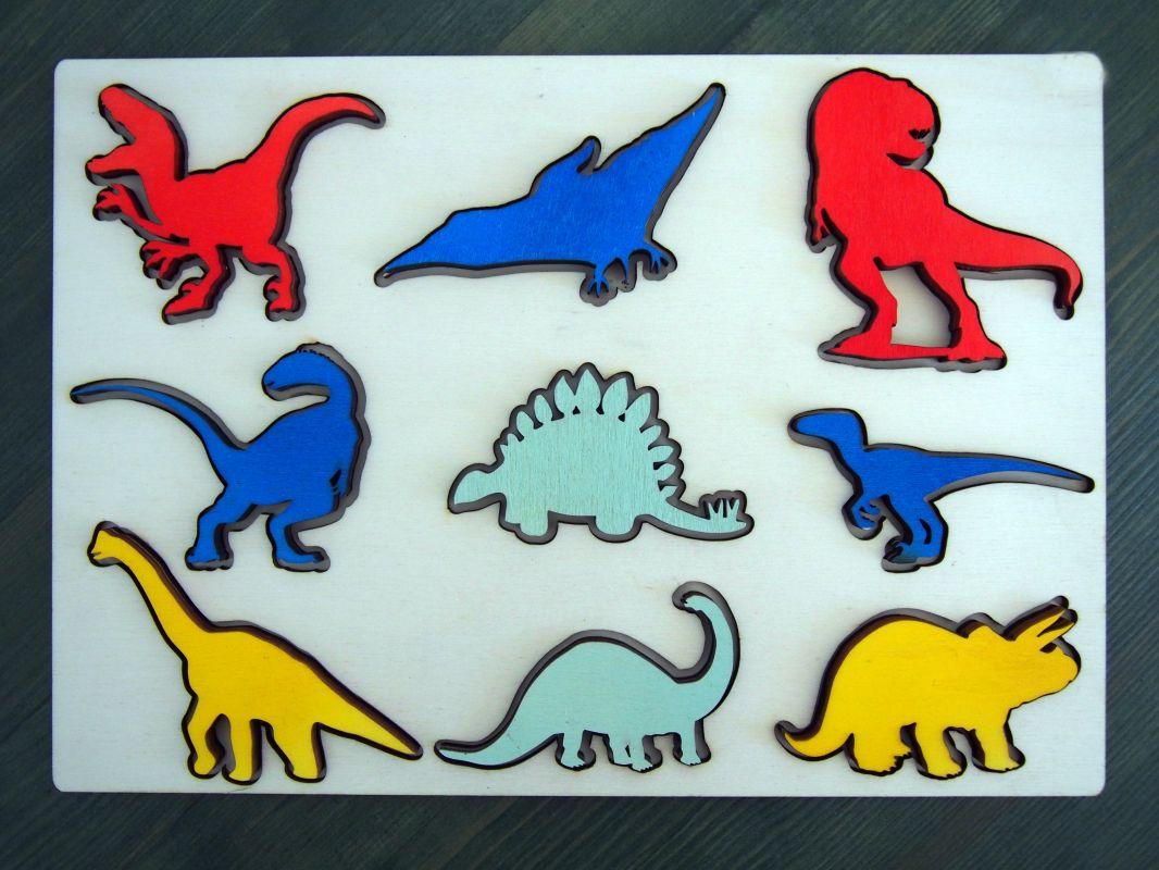 Dřevěná vkladačka dinosauři