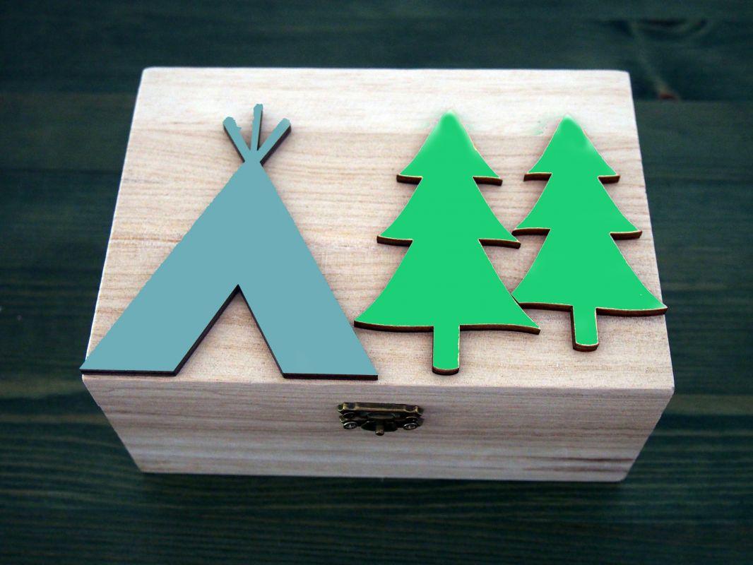 Dřevěná zavírací krabička teepee