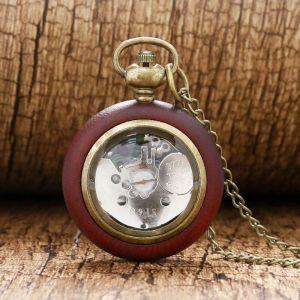 Dřevěné hodinky kapesní na řetízku