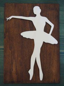 Dřevěný obrázek baletka 3