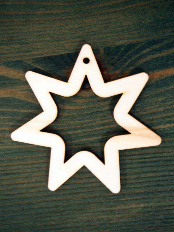 Dřevěná vánoční ozdoba hvězda jednoduchá