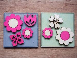 Obrázky z překližky s květinami, sada 2ks