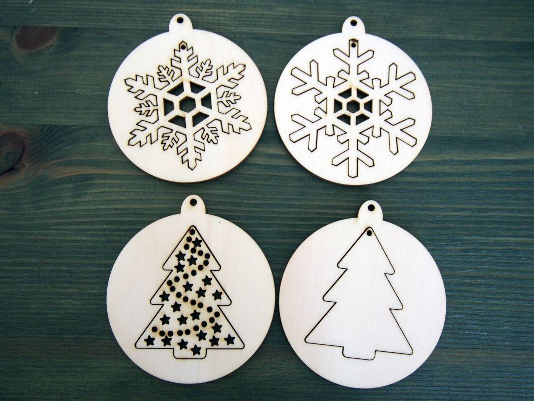 Sada 8ks dřevěných vánočních ozdob