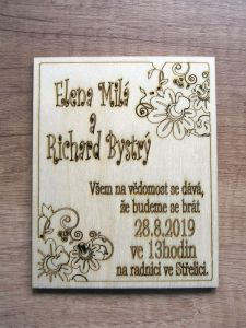 Svatební oznámení dřevěné