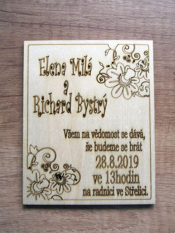 Svatební oznámení dřevěné rámeček