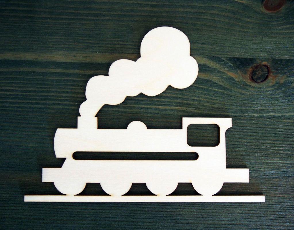 Výřez z překližky lokomotiva