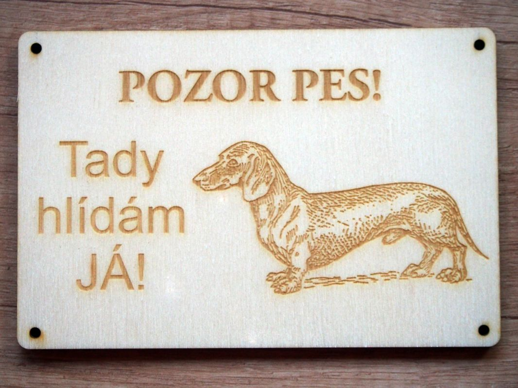 Cedulka POZOR PES! jezevčík