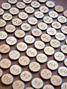Dřevěná kolečka/žetony s čísly