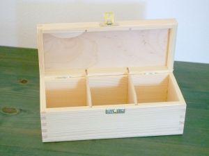 Dřevěná krabička na čaj se 3 přihrádkami