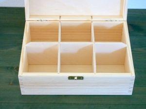 Dřevěná krabička na čaj se 6 přihrádkami