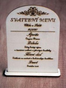 Dřevěné svatební menu