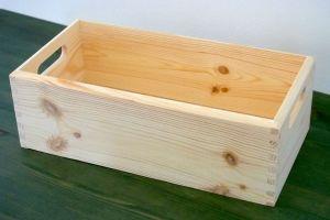 Dřevěný box/bedýnka s úchyty 40x20x13cm