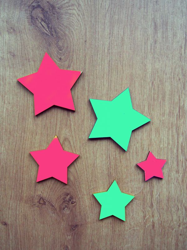 Hvězdičky dřevěné, nalepovací 5ks