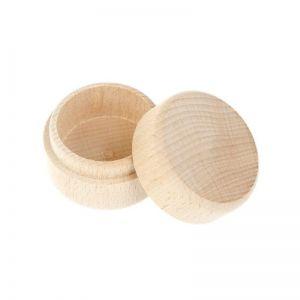 Kulatá dřevěná krabička na šperky