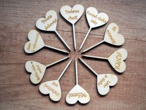 Zápichy na cupcaky srdce 10 ks svatební/rozlučkové