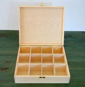 Dřevěná krabička na čaj s dekorací na míru