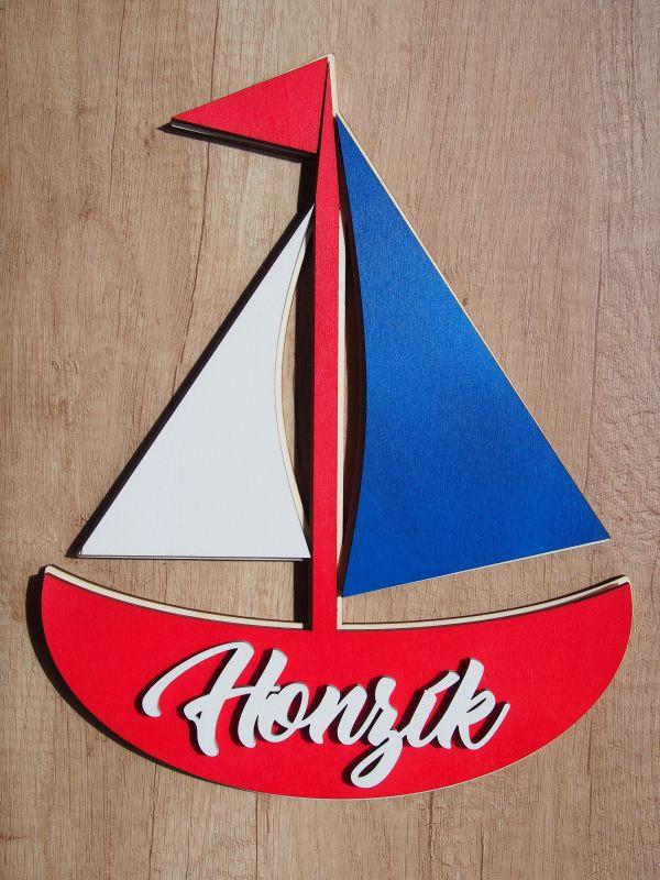 Dřevěná dekorace loďka se jménem 28cm