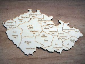 Dřevěná mapa ČR s kraji  50x30cm