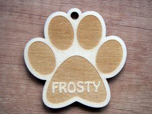 Dřevěný gravírovaný přívěsek/vánoční ozdoba pro psy
