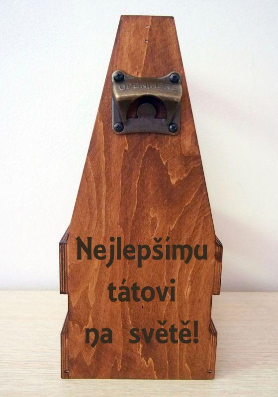 Dřevěný nosič na 6piv s otvírákem mořený s gravírováním