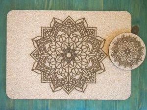 Set korkového prostírání a podtácku mandala