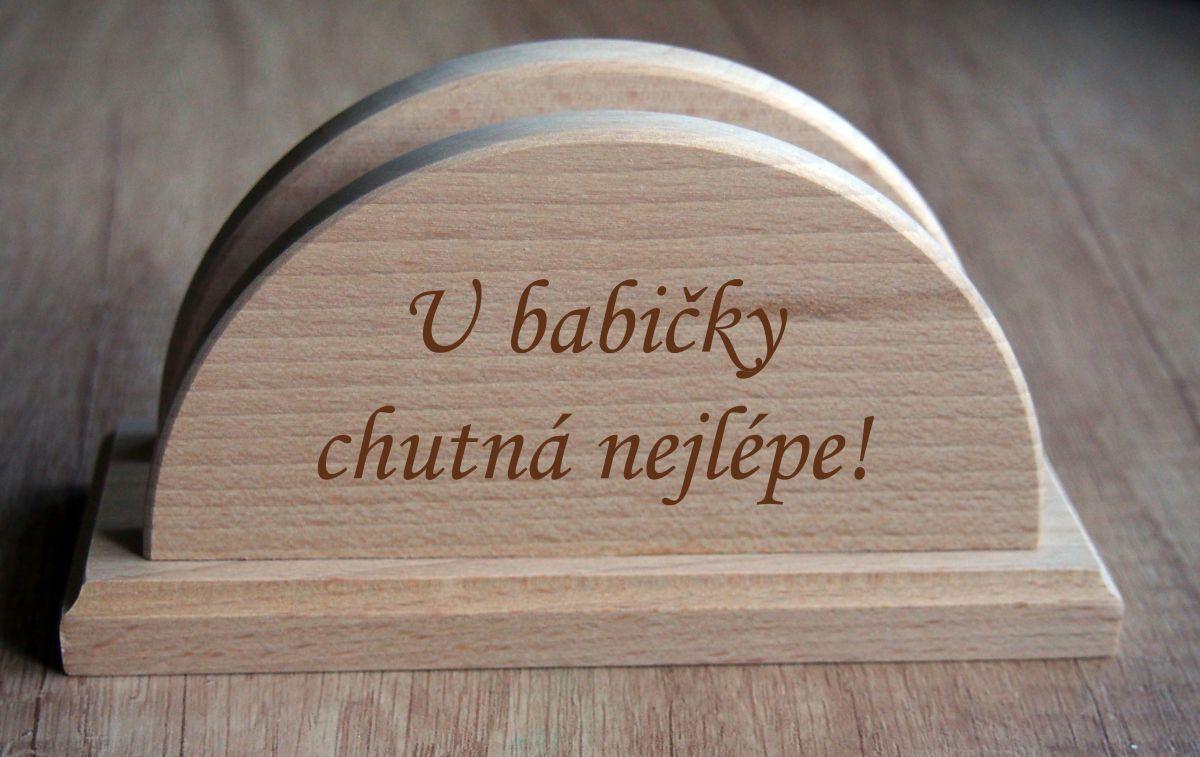 Dárkový dřevěný stojan na ubrousky s věnováním