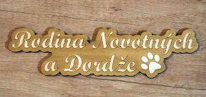 Dřevěná gravírovaná jmenovka na dveře