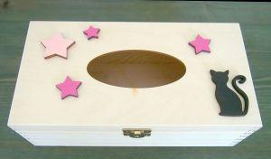 Dřevěná krabička na papírové kapesníky barevná s kočkou