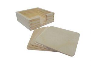 Dřevěná krabička s 5 podtácky