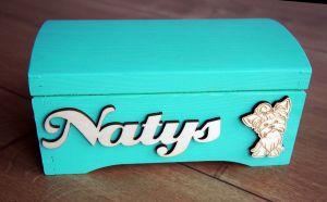 Dřevěná truhlička barevná s motivem na přání