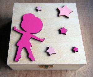 Dřevěná zavírací krabička baletka a hvězdy